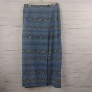 Eddie Bauer wrap skirt 12 blue & Tan Print Linen